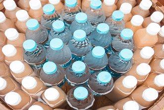 Bottled Water in wooden tank.
